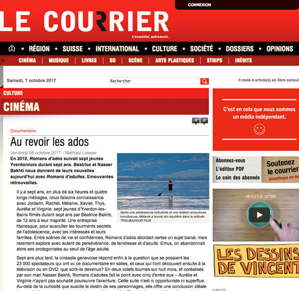 Romans d'adultes – Troubadour Films – Revue de presse, Le Courrier 6 octobre 2017